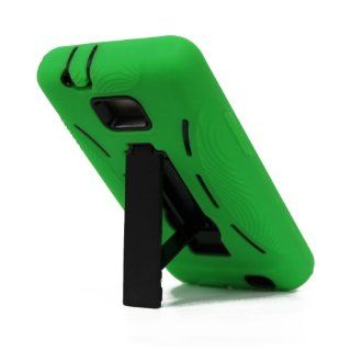 For Samsung Galaxy S II Galaxy SII Galaxy S2 Straight Talk Net10 SGH S959G S959G Hybrid Hard Rubber Case Green Black with Stand