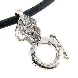 1 pc Rhodium on .925 Sterling Silver Clear Cz Crystal Round Leaf Pendant Connector Interchangeable Bail Dangle Clasp / Findings / Bright
