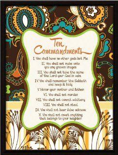 Ten Commandments Wood Frame Plaque with Easel   Decorative Plaques