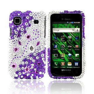 [Luxmo] Purple/Silver Rhinestones Bling Samsung Vibrant T959 Hard Case Cover; Fashion Jeweled Snap On Plastic Case; Perfect Fit as Best Coolest Design Cases for Vibrant T959/Samsung T959 Compatible with Verizon, AT&T, Sprint,T Mobile and Unlocked Phone