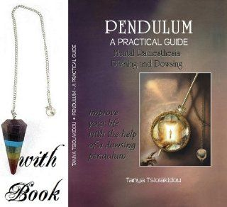 Seven Chakra Pendulum ~ Crystal Dowsing Divination Pendulum with Book A Faceted Chakra Crystal Pendulum with a beaded stopper on the end of the chain. � The pendulum is made from seven different crystals representing each chakra. � Approximate size   38mm