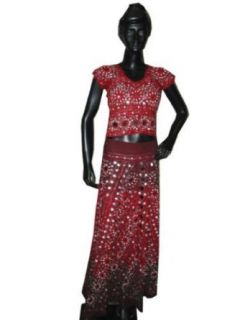 Maroon Belly Dance Lehenga Choli Indian Ghagra Party Wear Dress: Clothing