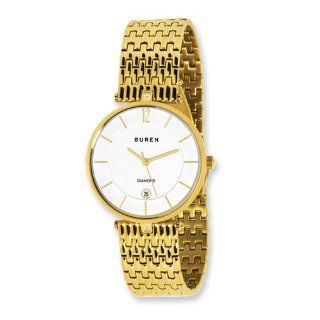 Mens Buren Diamond Ip gold Plated White Dial Watch, Best Quality Free Gift Box Satisfaction Guaranteed Watches