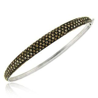 Sterling Silver 1.5ct. TDW Champagne Diamond Bangle Bracelet Jewelry