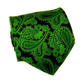 Necktie Set by Paul Malone 100% Silk Tie, Handkerchief and Cufflinks, Green Paisley at  Men�s Clothing store