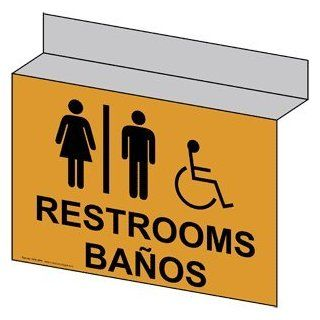 ADA Restrooms With Symbol Sign RRB 6986Ceiling BLKonGLD Restrooms  Business And Store Signs