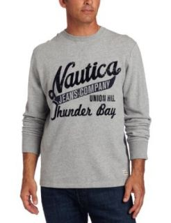Nautica Jeans Men's Long Sleeve Front Graphic Terry Crew Shirt, Grey Heather, X Large at  Men�s Clothing store: Fashion T Shirts