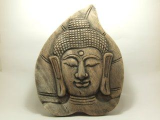 S2N Ban Tawai Thailand Thai handcraft handicraft carving crafted from rain tree wood wooden Bo leaf shape Buddha face wall hanging for home decoration  Other Products