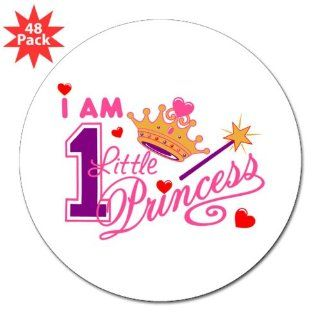 "3"" Lapel Sticker (48 Pack) I Am One Little Princess with Crown Wand and Hearts"