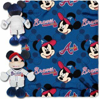 "MLB Atlanta Braves Mickey Mouse Hugger with 40"" x 50"" Fleece Blanket : Sports & Outdoors"