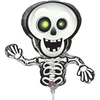 """Happy Skeleton Shaped 14"""" Already Air Filled Cup & Stick Included Mylar Balloon Toys & Games"""