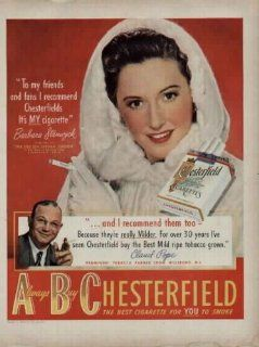 "BARBARA STANWYCK 1949 Chesterfield Cigarettes Ad, A3144. See BARBARA STANWYCK starring in ""THE FILE ON THELMA JORDAN."" Also featuring Prominent Tobacco Farmer Claud Pope of Hillsboro, North Carolina. **THIS IS AN AD / POSTER, NOT A DVD**  Prin"