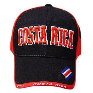 COSTA RICA RED BLACK BASEBALL CAP HAT EMBROIDERED ADJ : Sports Fan Baseball Caps : Sports & Outdoors