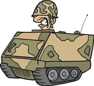 """6"""" wide Military tank. Printed vinyl decal sticker for any smooth surface such as windows bumpers laptops or any smooth surface."""