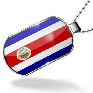 Dogtag Costa Rica Flag Dog tags necklace   Neonblond: NEONBLOND: Jewelry
