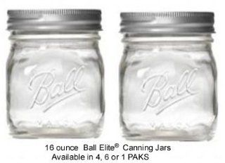 6 PAK   16 oz. Ball Elite Canning Jars with lids Treated by the HercuGlass process to be almost unbreakalbe. Kitchen & Dining