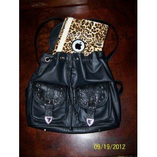 Black Faux Leather Large Western Rhinestone Cross Backpack Clothing