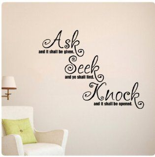 Ask Seek Knock Wall Decal God Prayer Christian Sticker Art Mural Home D�cor Quote