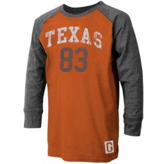 Texas Longhorns Youth Dane Raglan T Shirt   Burnt Orange/Ash