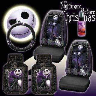 New 6 Pieces Disney Nightmare Before Christmas Jack Skellington Graveyard Car Auto Accessories Interior Combo Kit Gift Set   Front Floor Mats, Seat Cover, Steering Wheel Cover and Travel Size Purple Slice: Automotive