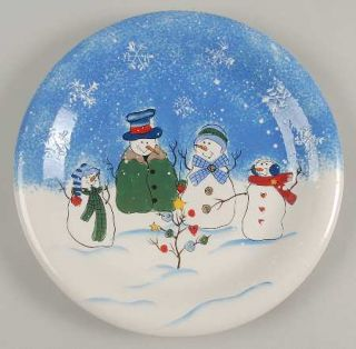 Sonoma Home Button Up Dinner Plate, Fine China Dinnerware   Snowman Scenes On Bl