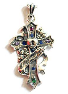 Ed Hardy By Christian Audigier: Cross with Heart Lock, Flowers and Ed Hardy Ribbon, Stylized Fleur Des Lis Bail, and CZ Accents in Stainless Steel: Pendants: Jewelry