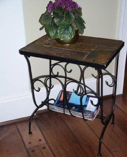 Black Magazine End Table with Slate Top