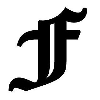 Old English Lettering Letter F White Decal: Automotive