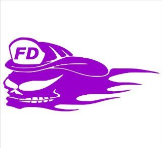 "Firefighter Decals.. Fear Fire Skull With Flames Decal Sticker Laptop, Notebook, Window, Car, Bumper, EtcStickers 6""x3""in. in PURPLE Exterior Window Sticker with Free Shipping: Everything Else"