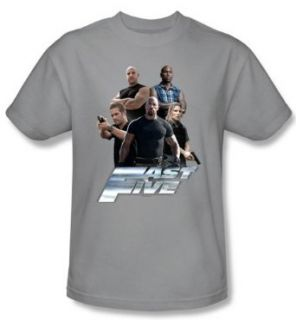 Fast Five T Shirt Movie The Fast Five Crew Adult Silver Tee Shirt (Small): Clothing