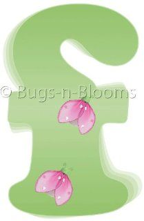 """""""f"""" Green Pink Ladybug Alphabet Letter Name Wall Sticker   Decal Letters for Children's, Nursery & Baby's Room Decor, Baby Name Wall Letters, Girls Bedroom Wall Letter Decorations, Child's Names. Ladybugs Lady Bug Mural Walls Deca"""