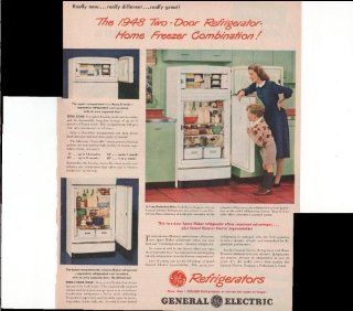 General Electric Refrigerators The 1948 Two Door Refrigerator Home Freezer Combination 1948 Original Vintage Advertisement : Prints : Everything Else