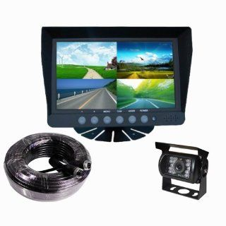 7 Inch Quad TFT/LCD Video Monitor Night Vision Backup Camera Car Rear View System for RV, Truck, Trailer, Bus, Fifth Wheel  Vehicle Backup Cameras