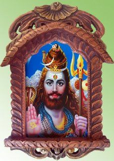 Lord Shiva with Long Beard Giving Blessings Poster Painting in Wood Craft Hand Made Jharokha   Prints