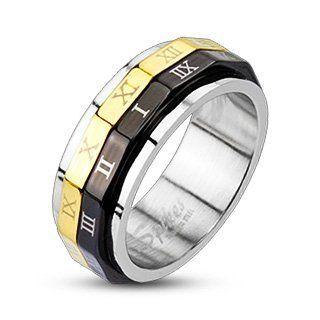 316L Stainless Steel Black & Gold IP Roman Numeral Dual Spinner Ring Band His and Hers: Jewelry