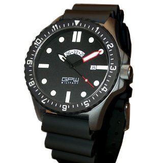 German Military Titanium Watch. GPW GMT. Red Minute Hand. Black NATO Rubber Strap. Sapphire Crystal. 200M W/R.: Watches