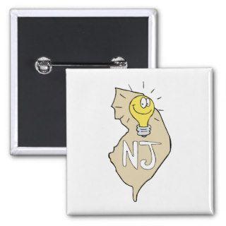New Jersey NJ Map with funny Light Bulb Cartoon Pins