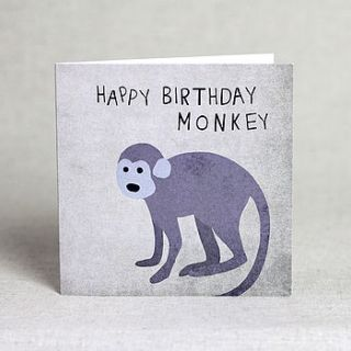 happy birthday monkey card by lil3birdy