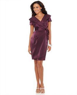 Alex Evenings Petite Dress, Short Sleeve Portrait Collar Ruched   Dresses   Women