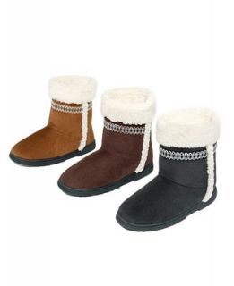 Isotoner Microsuede Sherpa Trim Boot Slippers   Shoes