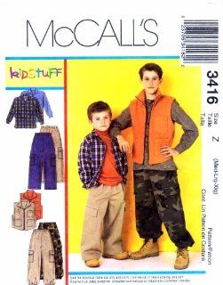 Mccall's Sewing Pattern 3416 Children's and Boy's Shirt, Vest, Pants, Sporting/Outdoors Size Z   MED, LG & XLG