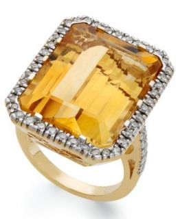 14k Gold Ring, Citrine (7 ct. t.w.) and Diamond (5/8 ct. t.w.) Cushion Cut Ring   Rings   Jewelry & Watches