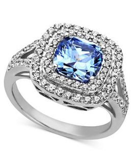 Arabella Sterling Silver Ring, Blue and White Swarovski Zirconia Two Row Cushion Cut Ring (5 1/5 ct. t.w.)   Rings   Jewelry & Watches