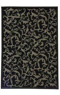 Safavieh CY2653 3908 8SQ Courtyard Collection 7 Feet 10 Inch Square Indoor/ Outdoor Square Area Rug, Black and Sand