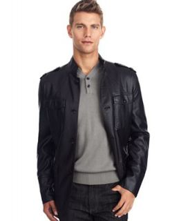 Kenneth Cole Reaction Jacket, Faux Leather Military Blazer   Coats & Jackets   Men