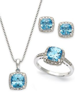 Sterling Silver Jewelry Set, Blue Topaz (5 7/8 ct. t.w.) and Diamond Accent Necklace, Earrings and Ring Set   Jewelry & Watches