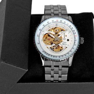 Luxury Sport Black Stainless Steel Skeleton Automatic Mechanical Men Wrist Watch Watches