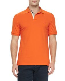 Burberry Brit Check Detail Short Sleeve Polo, Orange
