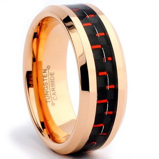 Tungsten Carbide Rose Goldplated Black and Red Carbon Fiber Inlay Ring Men's Rings