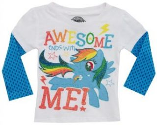 """My Little Pony """"Awesome Ends with Me"""" White Toddler Glittered T Shirt (2T) Clothing"""